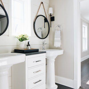 75 Beautiful Farmhouse Bathroom With A Pedestal Sink Pictures .