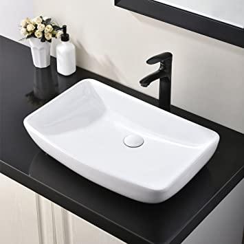 Hotis White Round Above Counter Porcelain Ceramic Bathroom .