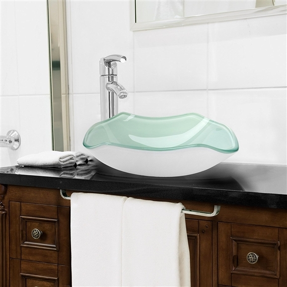 Shop Siena Scalloped Bowl Shaped Tempered Glass Bathroom Sink At .