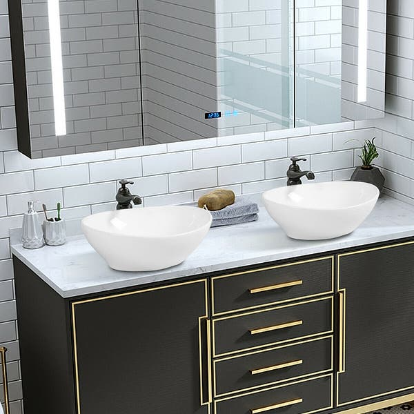 Shop Costway Oval Bathroom Basin Ceramic Vessel Sink Bowl Vanity .