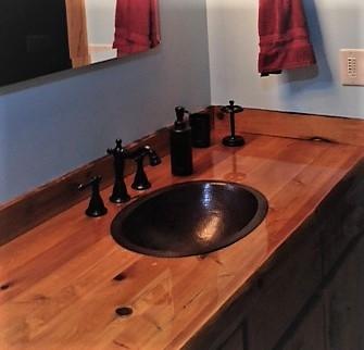 "19"" Oval Copper Bath Sink in Wooden Countertop   Vanity Sin"