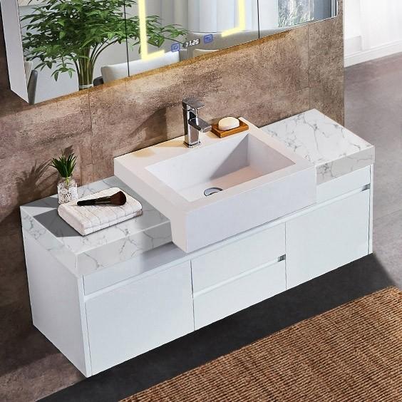 """39""""/47"""" Floating Bathroom Vanity with Sink Faux Marble Bathroom ."""