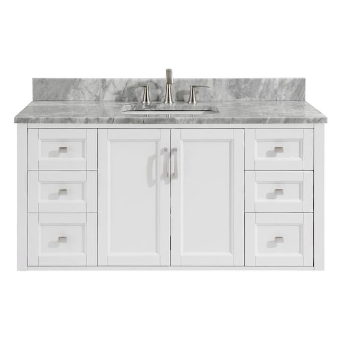 allen + roth Floating 48-in White Single Sink Bathroom Vanity with .