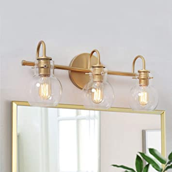 KSANA Gold Bathroom Vanity Light Fixtures with Clear Glass Shade .