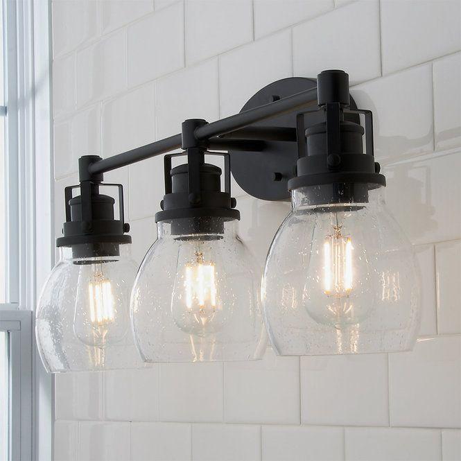 Soft Seeded Vanity Light - 3 Light | Rustic bathroom lighting .