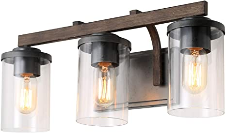 LALUZ Rustic Bath Vanity Light Fixture Wall Sconces with Clear .