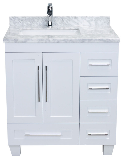 "Eviva Loon 30"" White Vanity With Countertop - Transitional ."