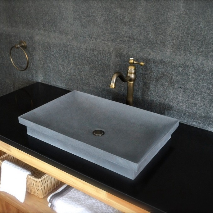 China Dark Gray Basalt Stone Bathroom Vessel Sink - China Vessel .