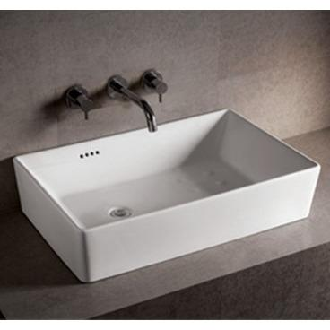 "White Rectangular Vessel Sink, 31 1/2"", Ceramic, Whitehaus ."