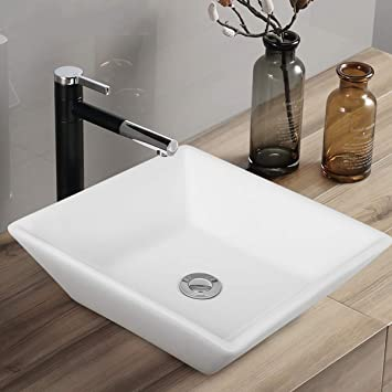 "Tangkula 16"" x 16"" Square Bathroom Vessel Sink, Porcelain Ceramic ."