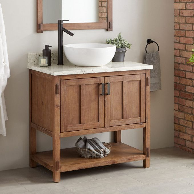 with Left Offset Faucet Drillings | Vessel sink vanity, Single .