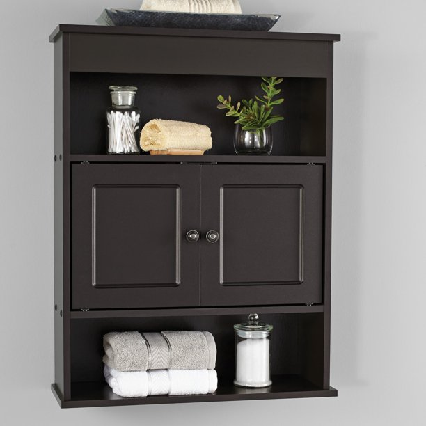 Mainstays Bathroom Wall Mounted Storage Cabinet with 2 Shelves .