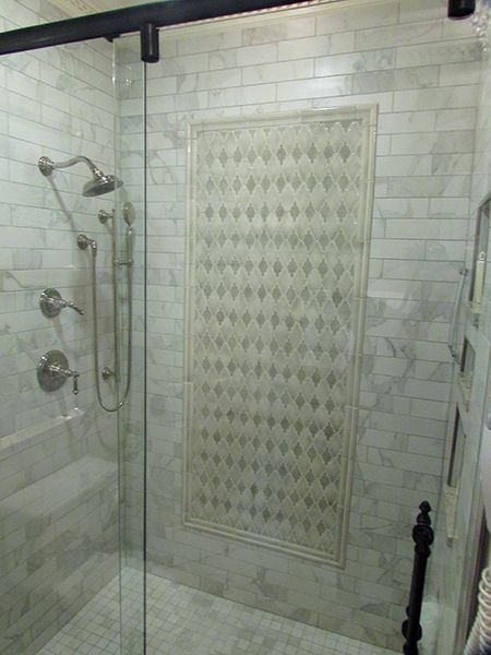 Beautiful Tiled Master Bathroom Arabesque Mosaic | Guest bathrooms .