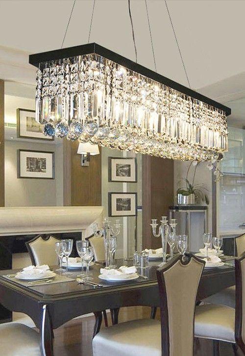 Rectangular Crystal Chandelier - Dining Room Crystal Chandeliers .