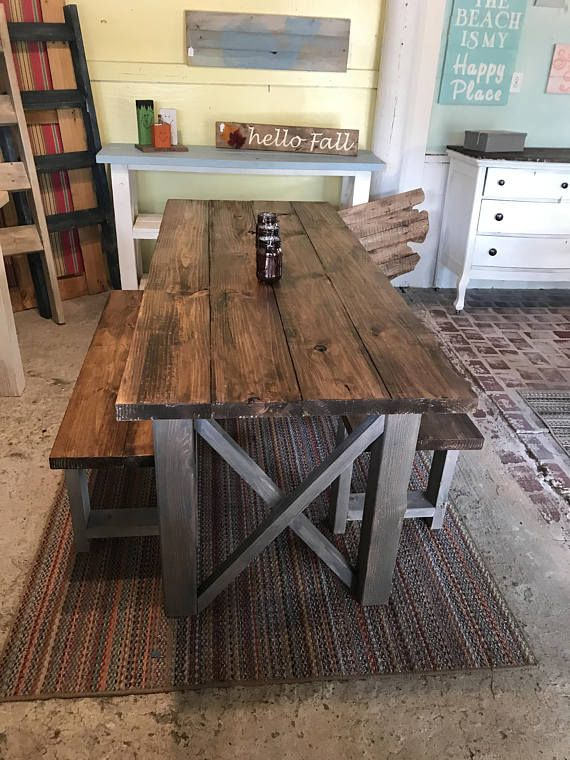 Rustic Wooden Farmhouse Table Set with Provincial Brown Top and .