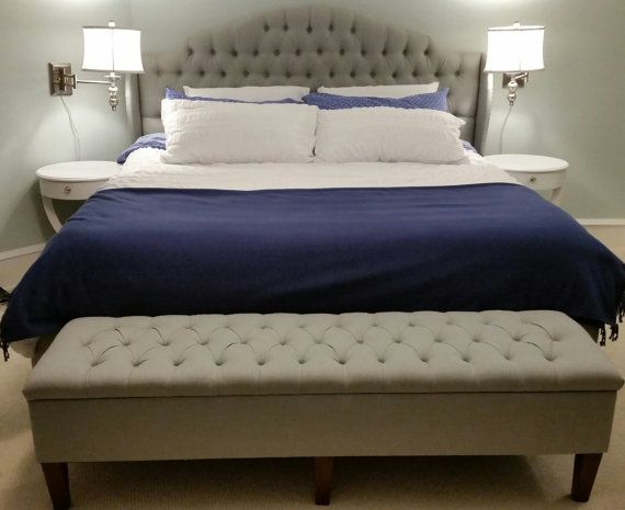 King Upholstered Bed and Storage Bench, Tufted Cavendish Shape .