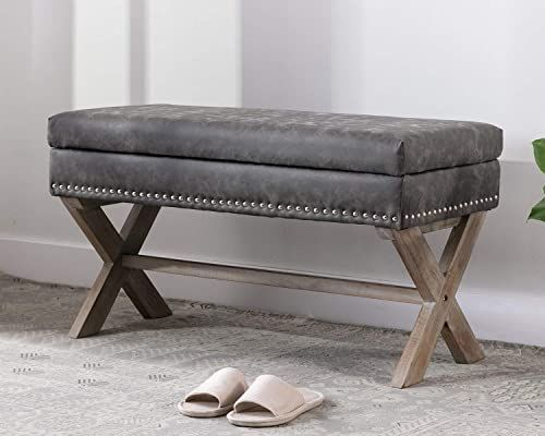 Chic chairus PU Leather Upholstered Storage Entryway Bench, 36 .