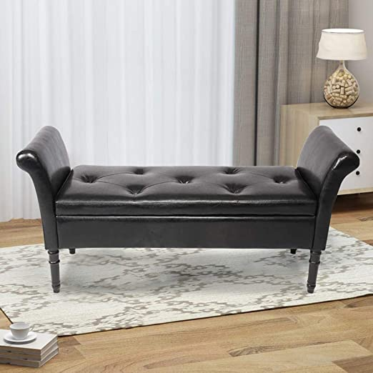 Amazon.com: Haobo Ottoman Benches with Arms Upholstered Bed Bench .