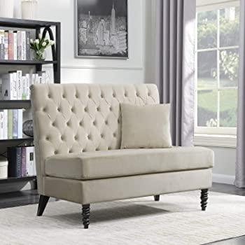 Amazon.com: BELLEZE Beige Velvet Modern Loveseat Bench Sofa Tufted .