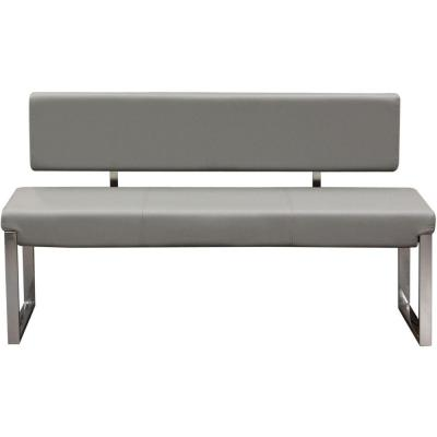 Benjara Gray and Silver Leatherette Upholstered Bench with .