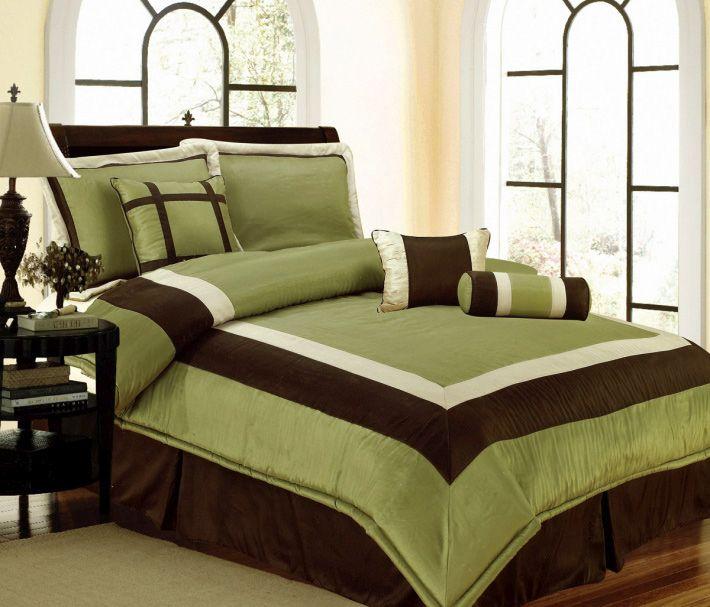 NEW Bedding Sage Green Brown White Hampton Comforter Set-Queen,Cal .