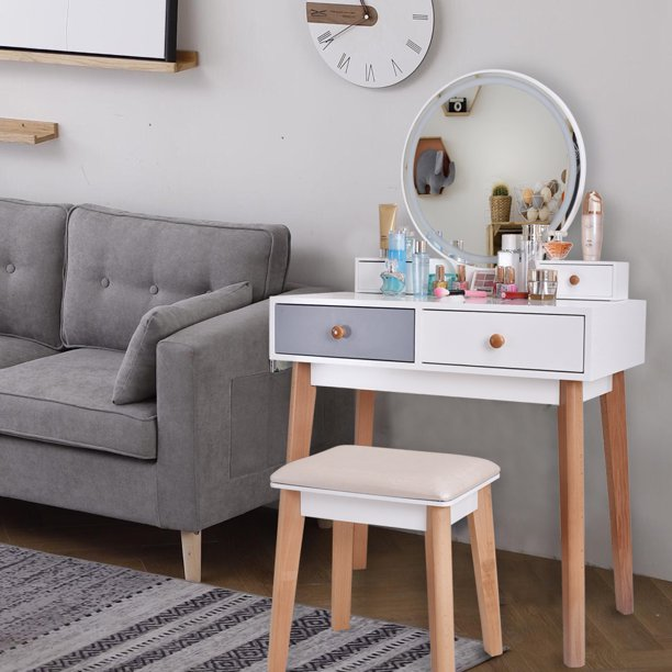 URHOMEPRO Makeup Vanity Table Set with Touch Screen Adjustable .