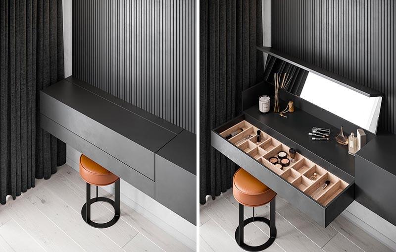 This Floating Bedroom Sideboard Includes A Hidden Makeup Vani