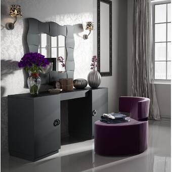 Everly Quinn Kirkwood Bedroom Makeup Vanity Set with Mirror | Wayfa