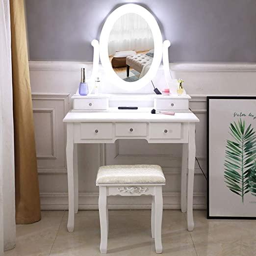 Amazon.com: SSLine White Vanity Table Stool Set with Lighted .