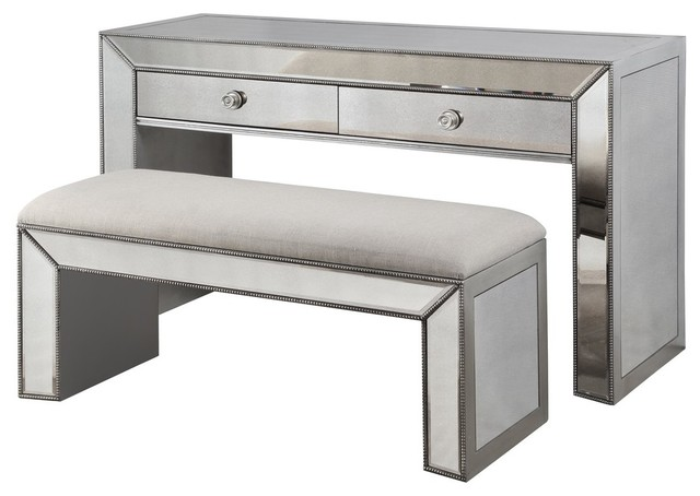 Vanity Console Table With Bench, Silver and Mirrored Inlays, 2 .