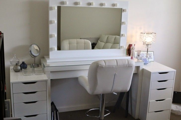 Ikea Makeup Vanity Set With Lights In White Color And Comfy .
