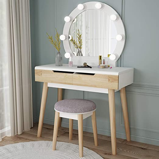 Amazon.com: Tribesigns Vanity Set with Round Lighted Mirror, Wood .