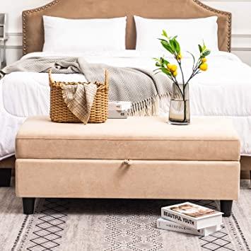 Amazon.com: HONBAY Rectangular Storage Ottoman Bench for Bedroom .