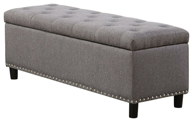 Grey Linen 48-inch Bedroom Storage Ottoman Bench Footrest .