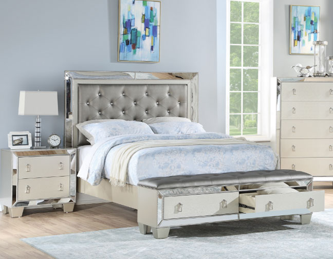 uptown glamour silver tufted storage bench foot board bedroom .
