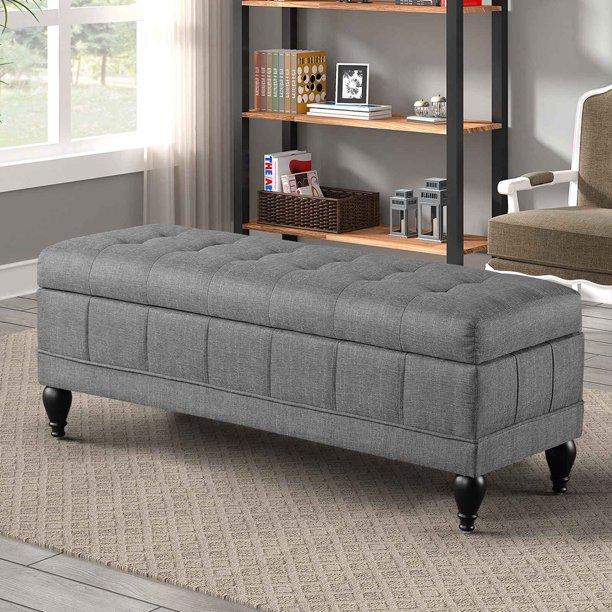 Storage Bench for Bedroom, Grey Bedroom Storage Ottoman Bench .