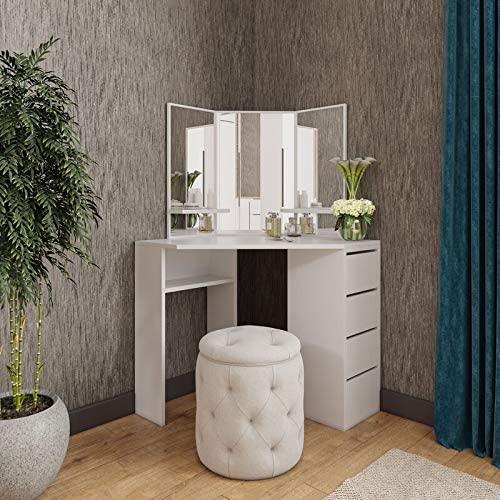 Amazon.com: Victory Corner Makeup Vanity Table White Makeup Desk .