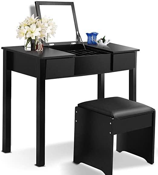 Amazon.com: Large Space Tabletop Black Vanity Desk Middle Part .