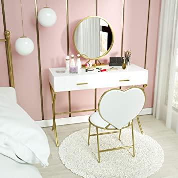 Amazon.com: Mecor Vanity Set with Mirror,Wood Makeup Dressing .