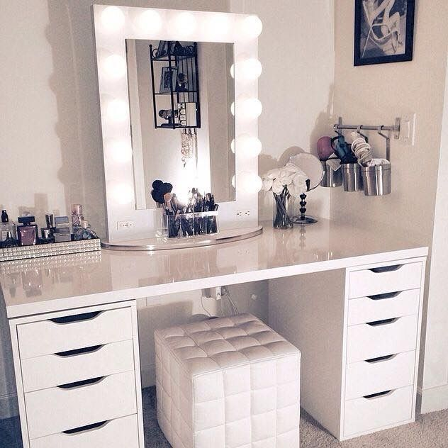 Makeup vanity IKEA Alex drawers & Linnmon tabletop Impressions .