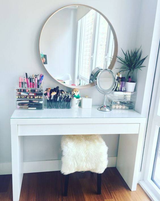 Makeup vanity table by IKEA. IKEA malm dressing table with IKEA .