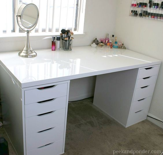 DIY Makeup Vanity with IKEA Pieces | Peek & Ponder | Ikea makeup .