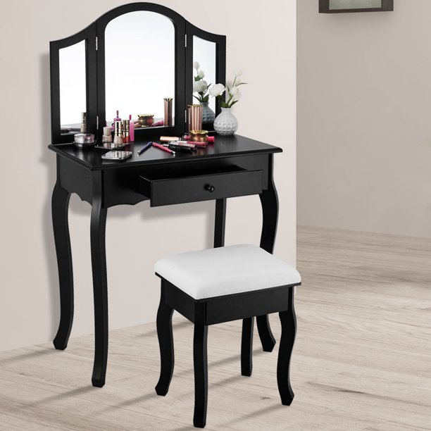 Gymax Makeup Dressing Table Bedroom Vanity Table Set Cushioned .