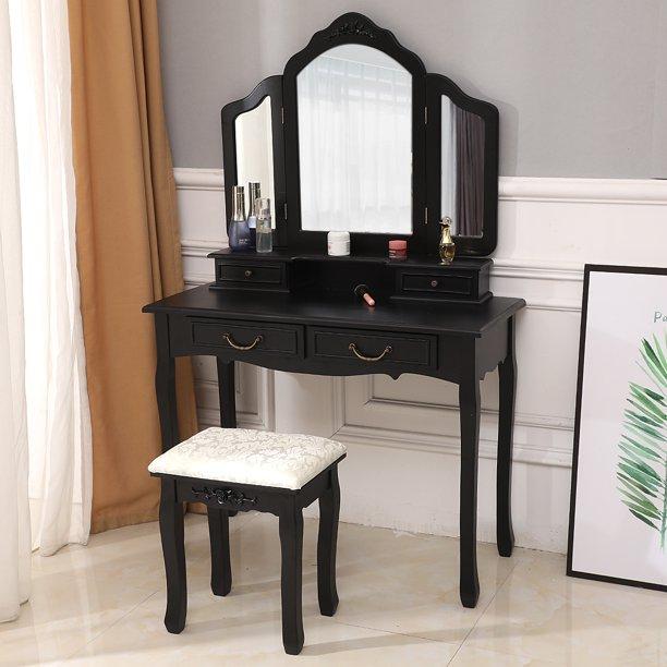Zimtown Tri Folding Mirror Wood Vanity Set Bedroom Vanities Makeup .