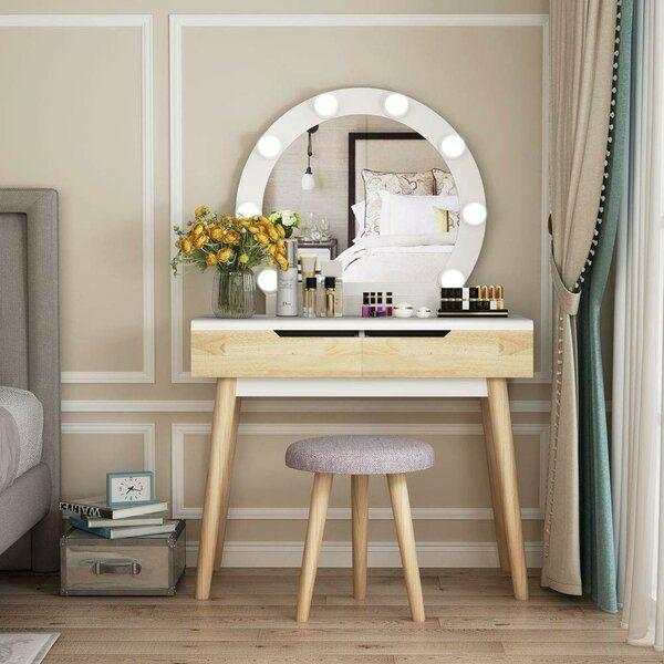 Hermanson Vanity Set with Stool and Mirror | Vanity set with .
