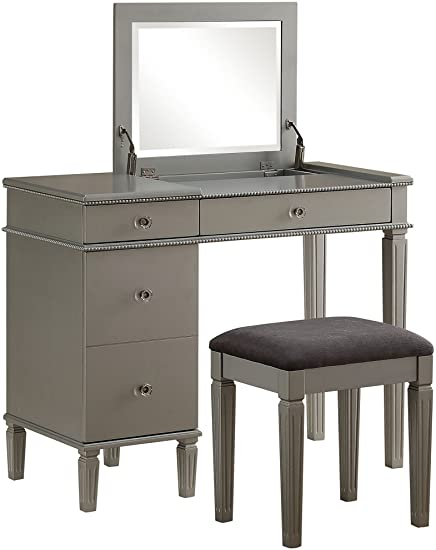 Amazon.com: Linon Alexandria Bedroom Vanity Set in Silver .