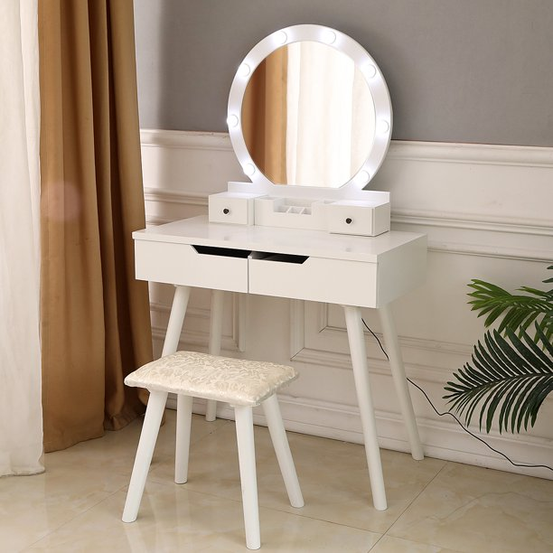 Ktaxon Vanity Set with Round Lighted Mirror, Makeup Dressing Table .