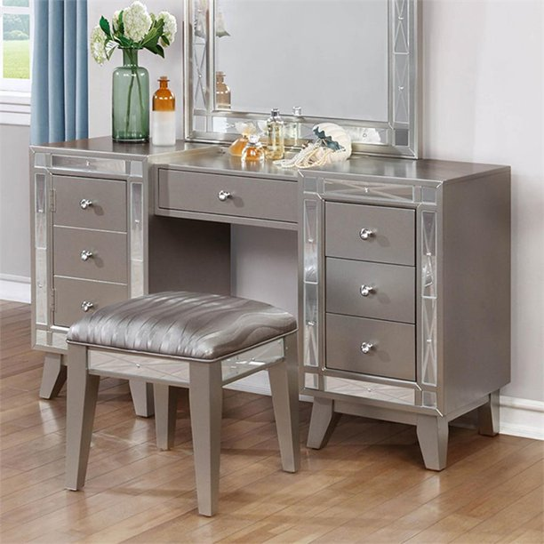Kingfisher Lane 2 Piece Bedroom Vanity Set in Metallic Mercury .