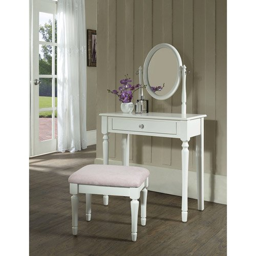 Princess Bedroom Vanity Set with Mirror and Bench, White - Walmart .