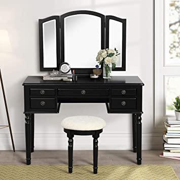 Amazon.com: CHARMAID Vanity Set with Tri-Folding Mirror and 5 .